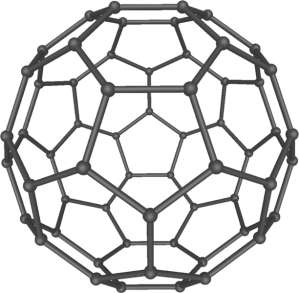 "A 3D model of a en:C60 molecule, also called a ""Buckyball"". Created by Michael Ströck (mstroeck) on February 6, 2006 in iMol for Mac OS X and Photoshop CS2. From Wikipedia."